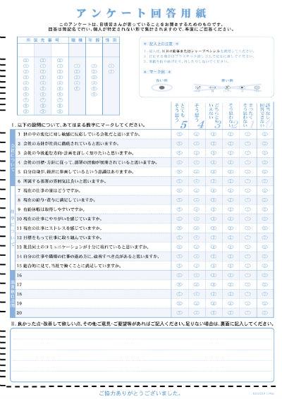 教育ソフトウェアのサンプルマークシート画像